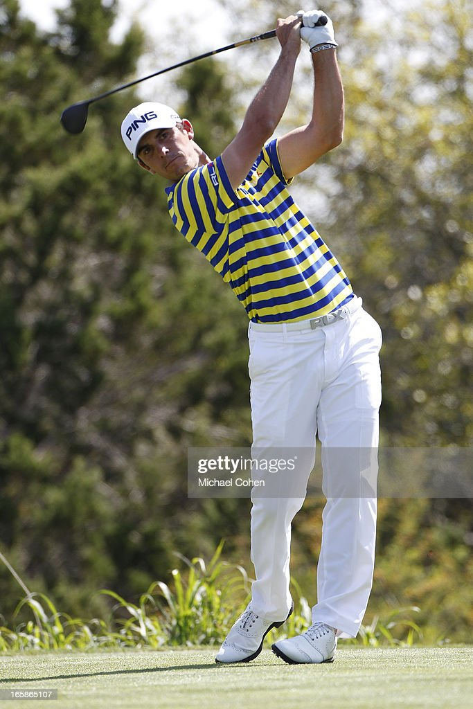 <a gi-track='captionPersonalityLinkClicked' href=/galleries/search?phrase=Billy+Horschel&family=editorial&specificpeople=565390 ng-click='$event.stopPropagation()'>Billy Horschel</a> hits his drive on the 15th hole during the third round of the Valero Texas Open held at the AT&T Oaks Course at TPC San Antonio on April 6, 2013 in San Antonio, Texas.
