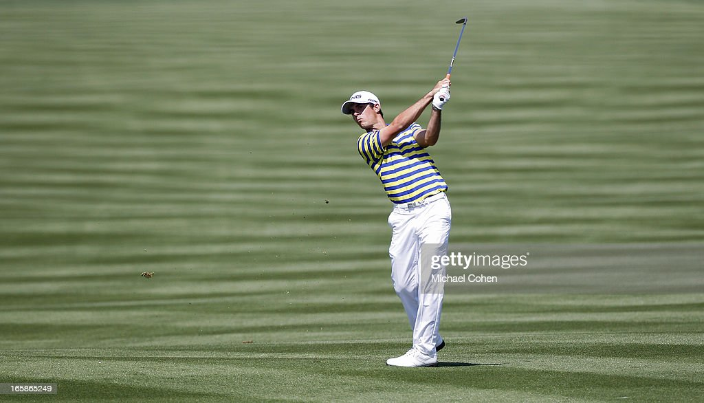 <a gi-track='captionPersonalityLinkClicked' href=/galleries/search?phrase=Billy+Horschel&family=editorial&specificpeople=565390 ng-click='$event.stopPropagation()'>Billy Horschel</a> hits his second shot on the 14th hole during the third round of the Valero Texas Open held at the AT&T Oaks Course at TPC San Antonio on April 6, 2013 in San Antonio, Texas.