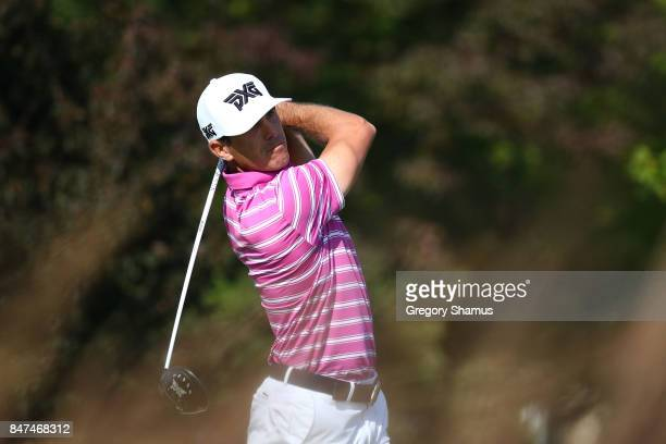 Billy Horschel hits his tee shot on the fourth hole during the second round of the BMW Championship at Conway Farms Golf Club on September 15 2017 in...