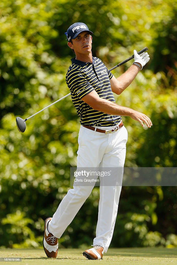 <a gi-track='captionPersonalityLinkClicked' href=/galleries/search?phrase=Billy+Horschel&family=editorial&specificpeople=565390 ng-click='$event.stopPropagation()'>Billy Horschel</a> hits his tee shot on the second hole during the third round of the Zurich Classic of New Orleans at TPC Louisiana on April 27, 2013 in Avondale, Louisiana.