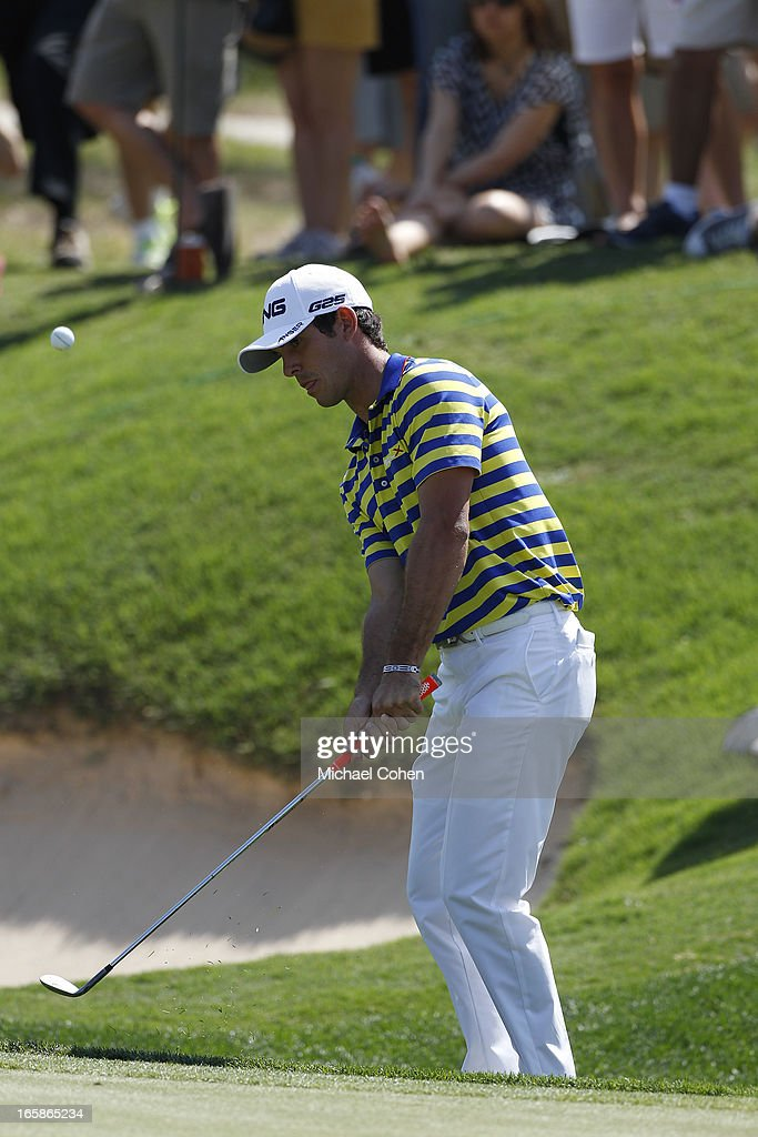 <a gi-track='captionPersonalityLinkClicked' href=/galleries/search?phrase=Billy+Horschel&family=editorial&specificpeople=565390 ng-click='$event.stopPropagation()'>Billy Horschel</a> hits his third shot on the 15th hole during the third round of the Valero Texas Open held at the AT&T Oaks Course at TPC San Antonio on April 6, 2013 in San Antonio, Texas.