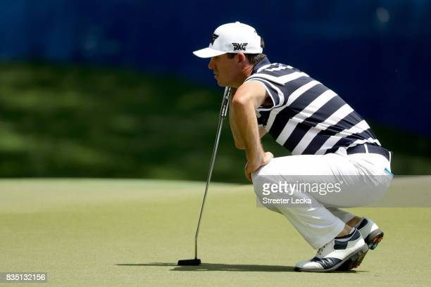 Billy Horschel lines up a putt on the first hole during the second round of the Wyndham Championship at Sedgefield Country Club on August 18 2017 in...