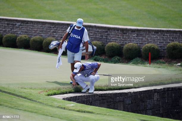 Billy Horschel looks for a ball on the 7th hole during the first round of the PGA Championship on August 10 2017 at Quail Hollow Club in Charlotte NC