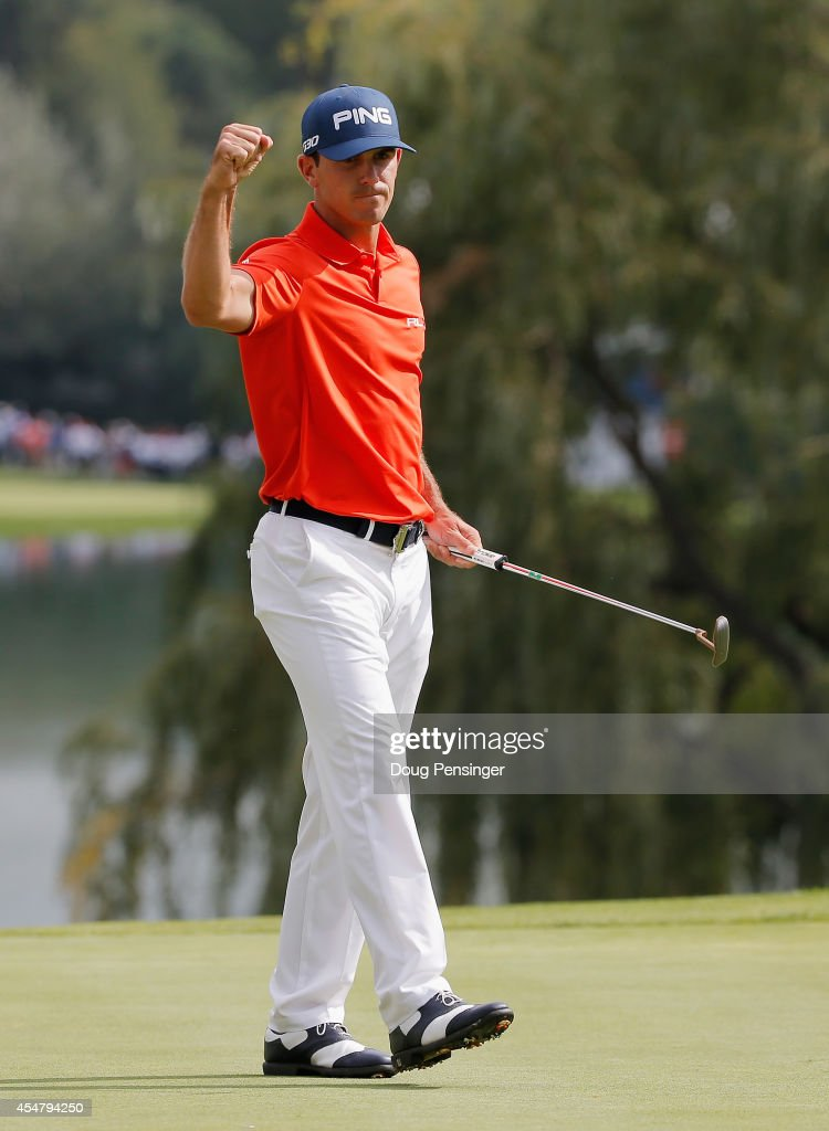 Billy Horschel of the United States celebrates his birdie putt on the 18th green en route to his sevenunder par 63 during the third round of the BMW...