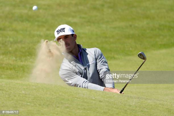 Billy Horschel of the United States hits a bunker shot during a practice round prior to the 146th Open Championship at Royal Birkdale on July 17 2017...