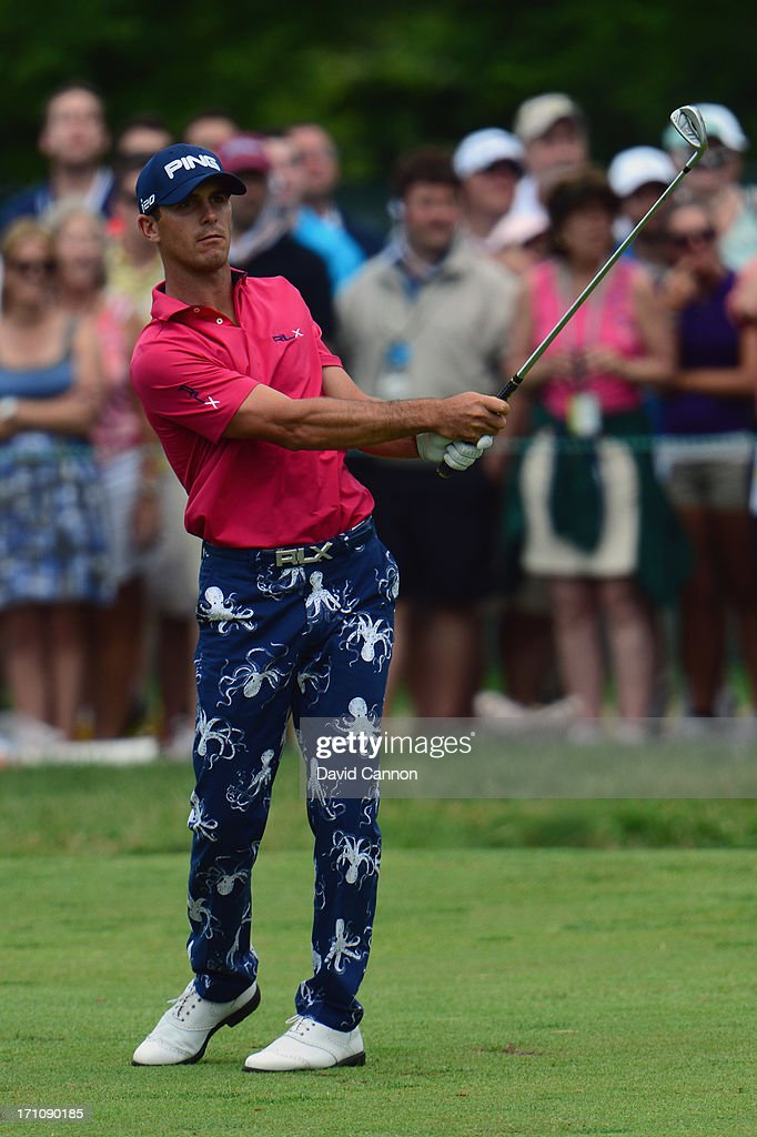 Billy Horschel of the United States hits his second shot on the first hole during the final round of the 113th U.S. Open at Merion Golf Club on June 16, 2013 in Ardmore, Pennsylvania.