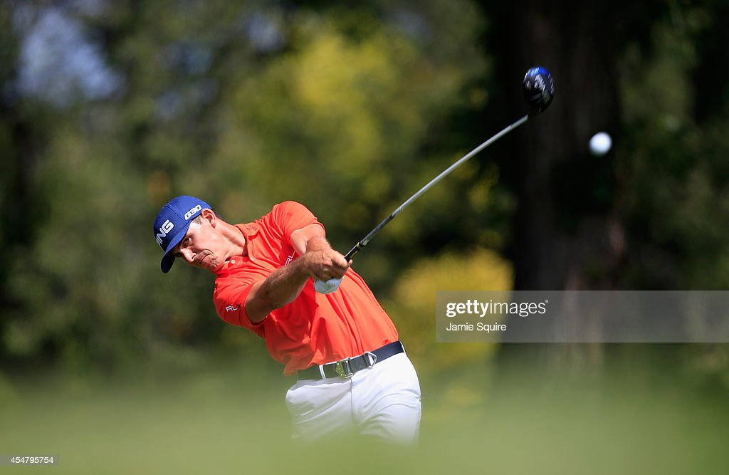 Billy Horschel of the United States hits his tee shot on the 13th hole during the third round of the BMW Championship at the Cherry Hills Country...