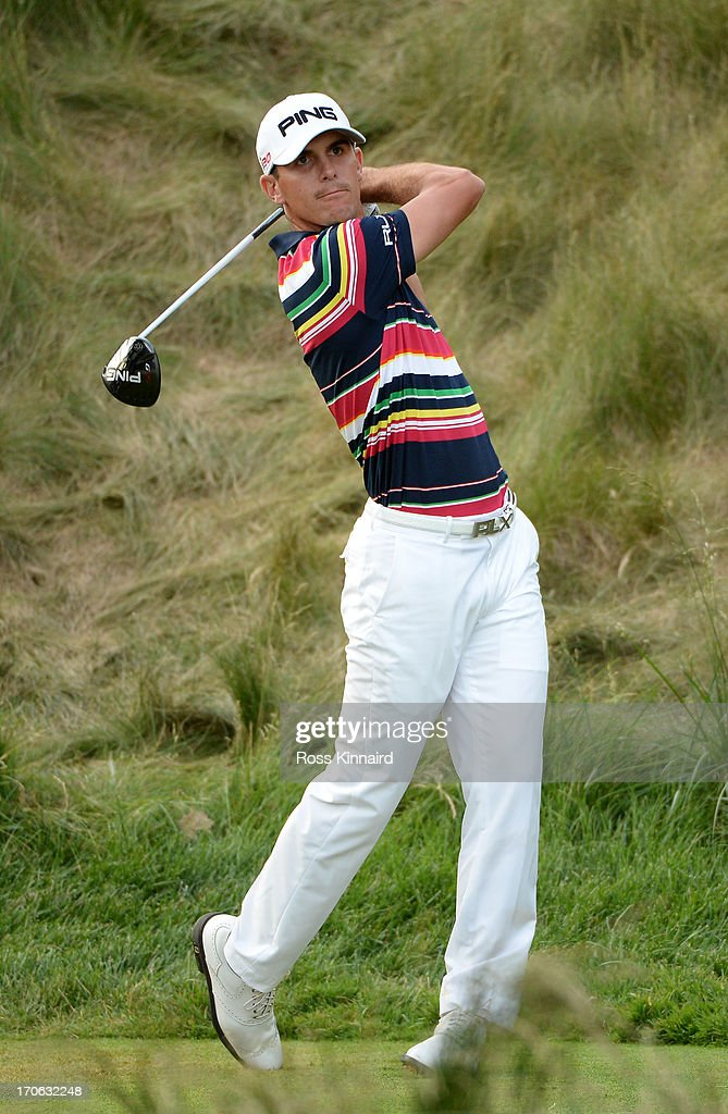 Billy Horschel of the United States hits his tee shot on the 18th hole during Round Three of the 113th U.S. Open at Merion Golf Club on June 15, 2013 in Ardmore, Pennsylvania.