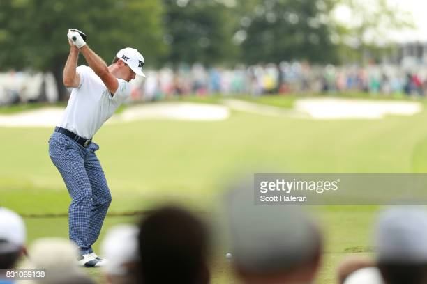 Billy Horschel of the United States hits off the first tee during the final round of the 2017 PGA Championship at Quail Hollow Club on August 13 2017...