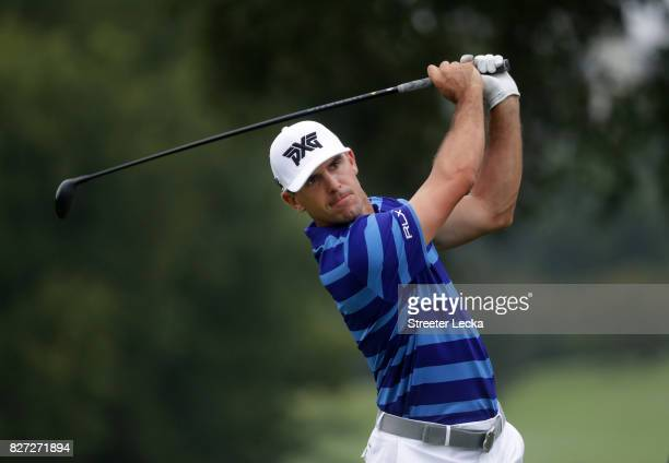 Billy Horschel of the United States plays a shot during a practice round prior to the 2017 PGA Championship at Quail Hollow Club on August 7 2017 in...