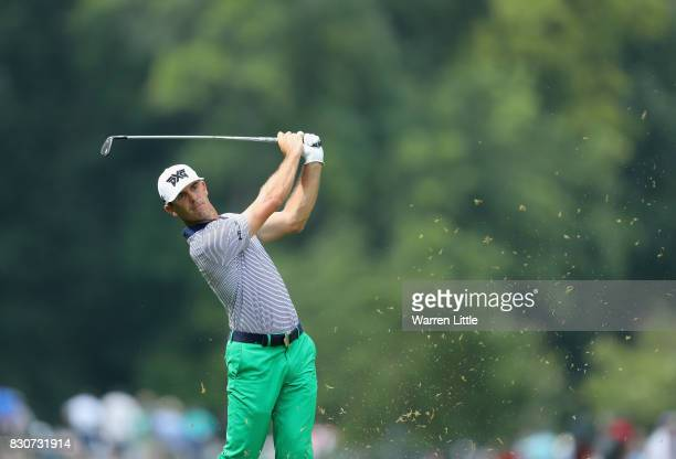 Billy Horschel of the United States plays his second shot on the second hole during the third round of the 2017 PGA Championship at Quail Hollow Club...
