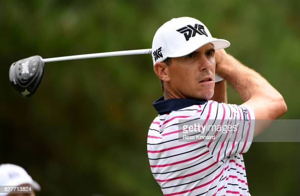 Billy Horschel of the United States plays his shot during a practice round prior to the 2017 PGA Championship at Quail Hollow Club on August 8 2017...