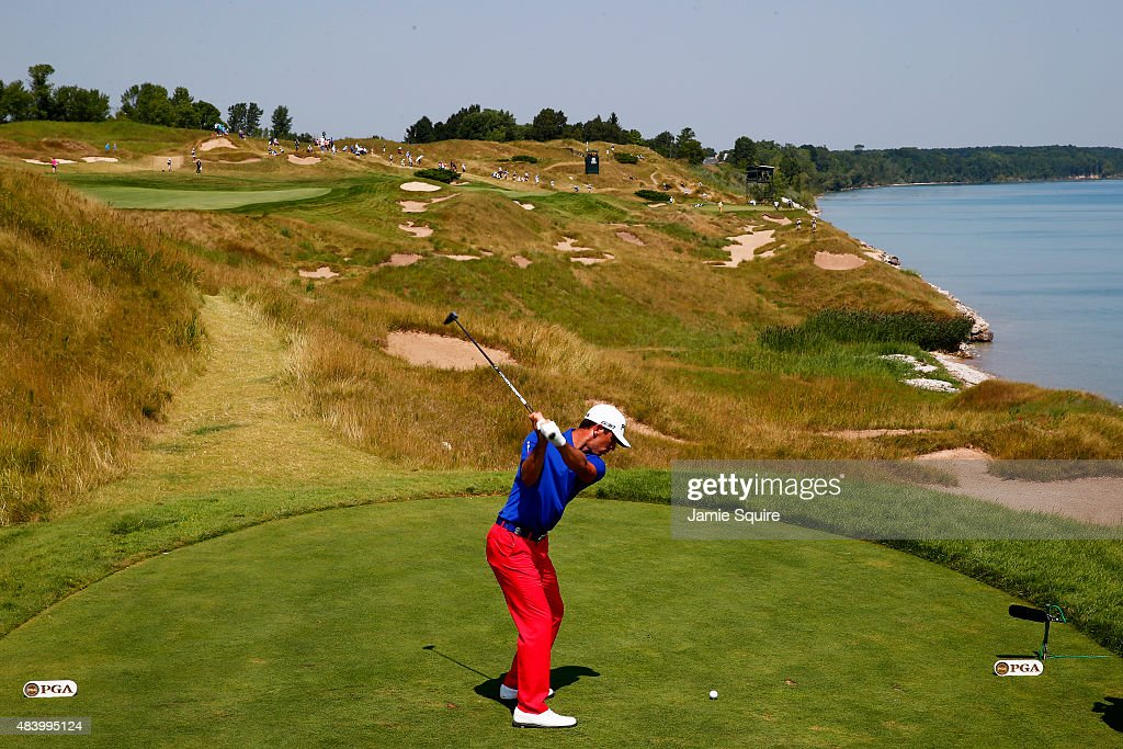 <a gi-track='captionPersonalityLinkClicked' href=/galleries/search?phrase=Billy+Horschel&family=editorial&specificpeople=565390 ng-click='$event.stopPropagation()'>Billy Horschel</a> of the United States plays his shot from the 13th tee during the second round of the 2015 PGA Championship at Whistling Straits on August 14, 2015 in Sheboygan, Wisconsin.