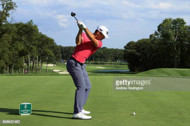 Billy Horschel of the United States plays his shot from the fifth tee during round one of The Northern Trust at Glen Oaks Club on August 24 2017 in...