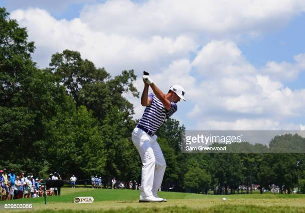 Billy Horschel of the United States plays his shot from the second tee during the first round of the 2017 PGA Championship at Quail Hollow Club on...