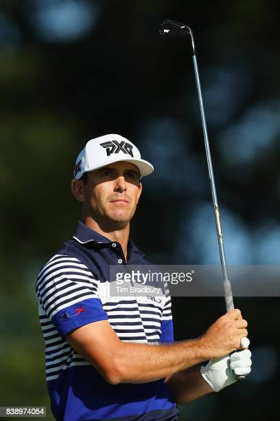 Billy Horschel of the United States plays his shot from the second tee during round two of The Northern Trust at Glen Oaks Club on August 25 2017 in...