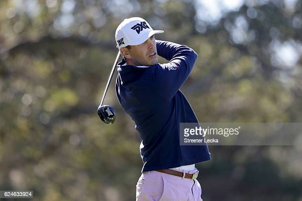 Billy Horschel of the United States plays his tee shot on the 2nd hole during the final round of the RSM Classic at Sea Island Resort Seaside Course...