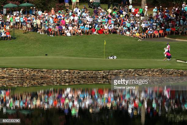 Billy Horschel of the United States prepare to putt on the 17th green during the second round of the 2017 PGA Championship at Quail Hollow Club on...