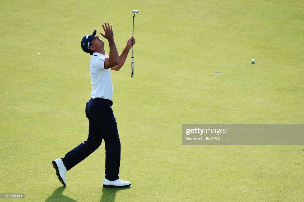 <a gi-track='captionPersonalityLinkClicked' href=/galleries/search?phrase=Billy+Horschel&family=editorial&specificpeople=565390 ng-click='$event.stopPropagation()'>Billy Horschel</a> of the United States reacts to a missed putt on the 18th green during the first round of The 143rd Open Championship at Royal Liverpool on July 17, 2014 in Hoylake, England.