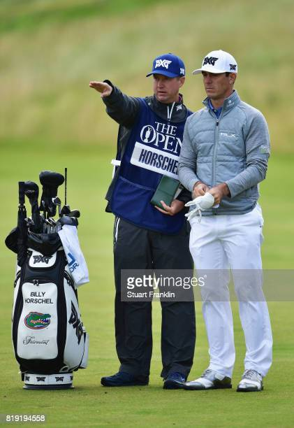 Billy Horschel of the United States with his caddie during the first round of the 146th Open Championship at Royal Birkdale on July 20 2017 in...