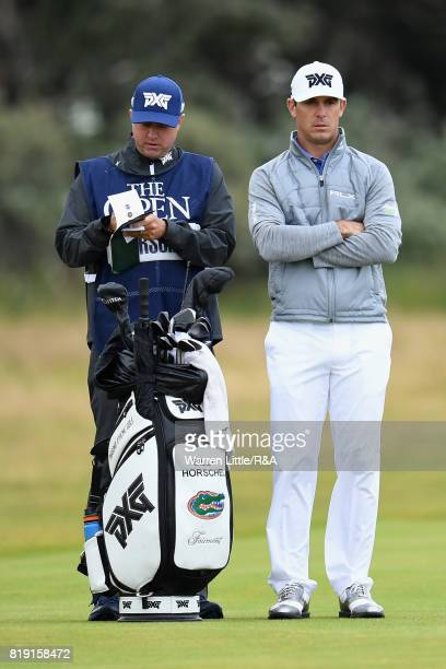 Billy Horschel of the United States with his caddie on the 1st fairway during the first round of the 146th Open Championship at Royal Birkdale on...