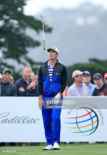 Billy Horschel of the USA flips his club in frustration on the second tee the second extra hole of his match against Rory McIlroy of Northern Ireland...
