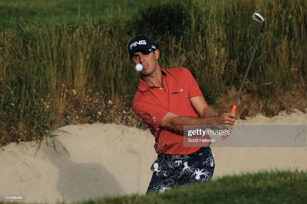Billy Horschel plays a bunker shot during the final round of the 113th U.S. Open at Merion Golf Club on June 16, 2013 in Ardmore, Pennsylvania.