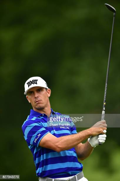 Billy Horschel plays a shot during a practice round prior to the 2017 PGA Championship at Quail Hollow Club on August 7 2017 in Charlotte North...