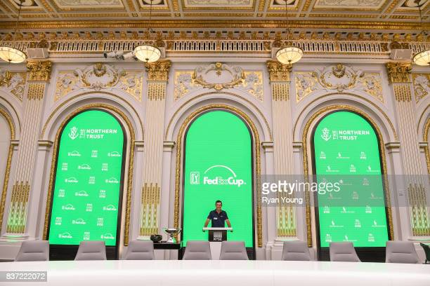 Billy Horschel poses for a photo in a conference room at the New York Stock Exchange during a preview media tour for THE NORTHERN TRUST on August 22...