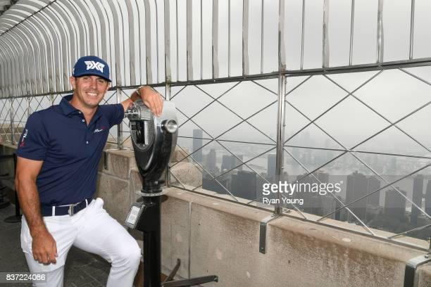 Billy Horschel poses for a photo on top of the Empire State Building during a preview media tour for THE NORTHERN TRUST on August 22 2017 in New York...