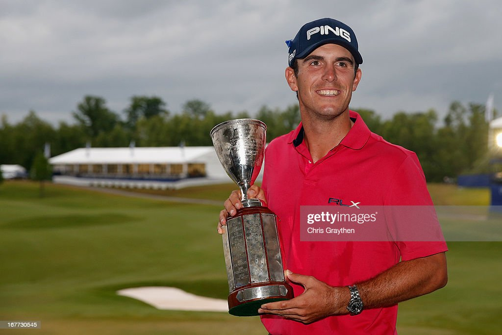 <a gi-track='captionPersonalityLinkClicked' href=/galleries/search?phrase=Billy+Horschel&family=editorial&specificpeople=565390 ng-click='$event.stopPropagation()'>Billy Horschel</a> poses for a photo with the winner's trophy after winning the Zurich Classic of New Orleans at TPC Louisiana on April 28, 2013 in Avondale, Louisiana.