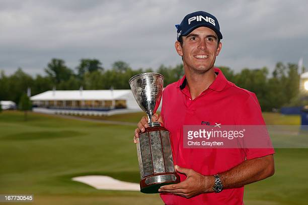 Billy Horschel poses for a photo with the winner's trophy after winning the Zurich Classic of New Orleans at TPC Louisiana on April 28 2013 in...