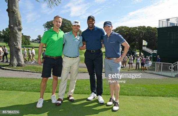 Billy Horschel poses with Adam Rapoport Michael Strahan and Bobby Flay during a proam at THE NORTHERN TRUST at Glen Oaks Club on August 23 in Old...