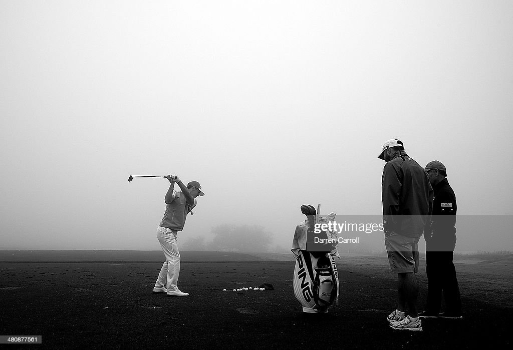 <a gi-track='captionPersonalityLinkClicked' href=/galleries/search?phrase=Billy+Horschel&family=editorial&specificpeople=565390 ng-click='$event.stopPropagation()'>Billy Horschel</a> practices on the range during a rain delay during Round One of the Valero Texas Open at the AT&T Oaks Course on March 27, 2014 in San Antonio, Texas.