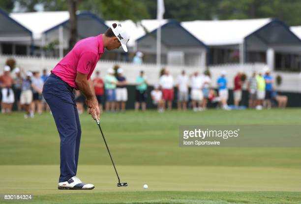 Billy Horschel putts on the 10th green during the second round of the PGA Championship on August 11 2017 at Quail Hollow Golf Club in Charlotte NC