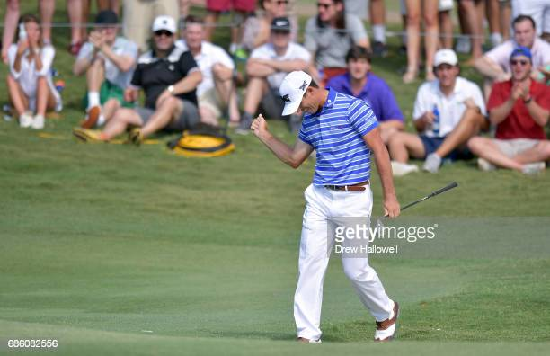 Billy Horschel reacts after chipping in for birdie on the 17th hole during Round Three of the ATT Byron Nelson at the TPC Four Seasons Resort Las...