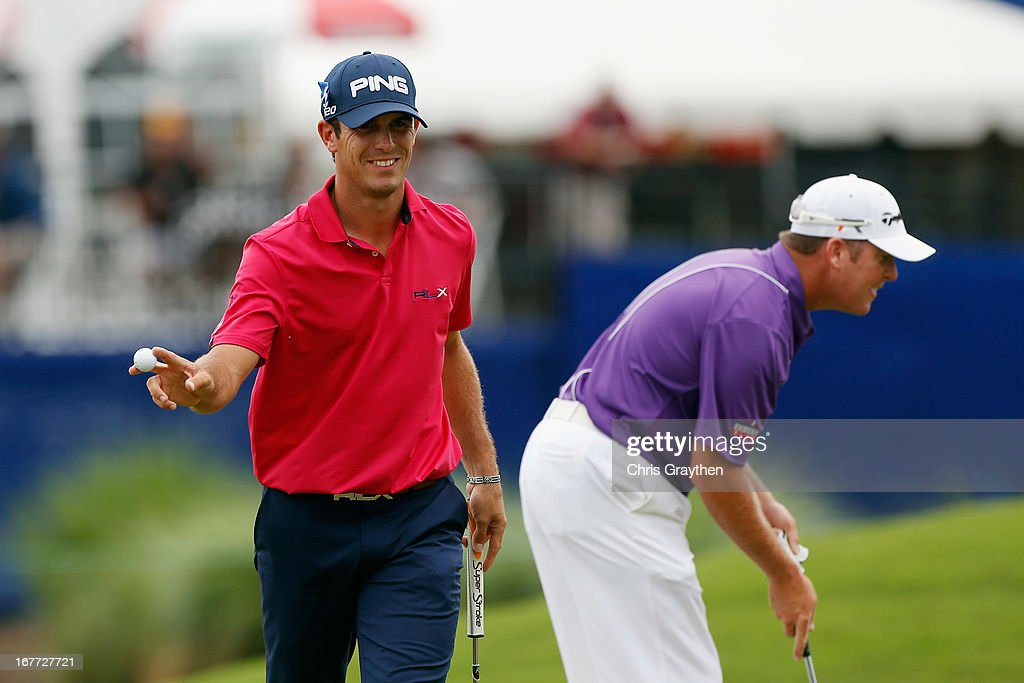 <a gi-track='captionPersonalityLinkClicked' href=/galleries/search?phrase=Billy+Horschel&family=editorial&specificpeople=565390 ng-click='$event.stopPropagation()'>Billy Horschel</a> reacts after making a putt on the 14th hole during the final round of the Zurich Classic of New Orleans at TPC Louisiana on April 28, 2013 in Avondale, Louisiana.