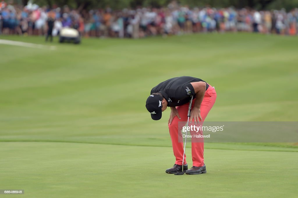 Billy Horschel reacts to a missed birdie putt in a playoff against Jason Day of Australia on the 18th hole during the Final Round of the AT&T Byron Nelson at the TPC Four Seasons Resort Las Colinas on May 21, 2017 in Irving, Texas.