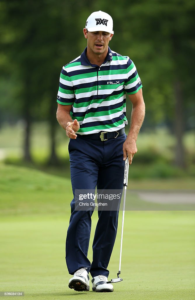 <a gi-track='captionPersonalityLinkClicked' href=/galleries/search?phrase=Billy+Horschel&family=editorial&specificpeople=565390 ng-click='$event.stopPropagation()'>Billy Horschel</a> reacts to his putt on the 11th hole during a continuation of the first round of the Zurich Classic of New Orleans at TPC Louisiana on April 29, 2016 in Avondale, Louisiana.