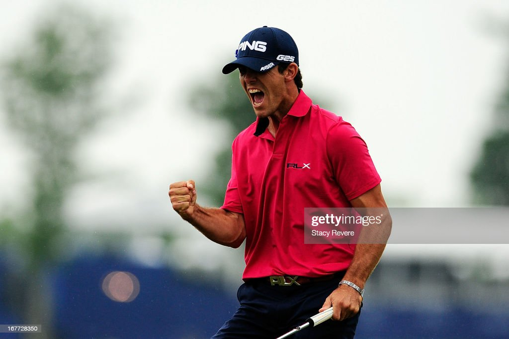 <a gi-track='captionPersonalityLinkClicked' href=/galleries/search?phrase=Billy+Horschel&family=editorial&specificpeople=565390 ng-click='$event.stopPropagation()'>Billy Horschel</a> reacts to the winning putt on the 18th green during the final round of the Zurich Classic of New Orleans at TPC Louisiana on April 28, 2013 in Avondale, Louisiana.