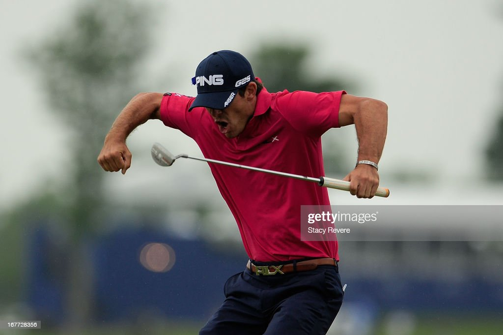 Billy Horschel reacts to the winning putt on the 18th green during the final round of the Zurich Classic of New Orleans at TPC Louisiana on April 28...