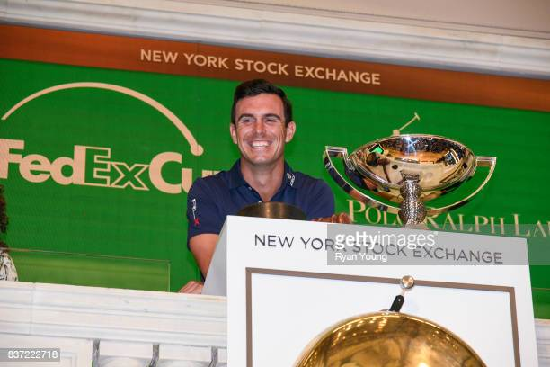 Billy Horschel rings the opening bell at the New York Stock Exchange during a preview media tour for THE NORTHERN TRUST on August 22 2017 in New York...