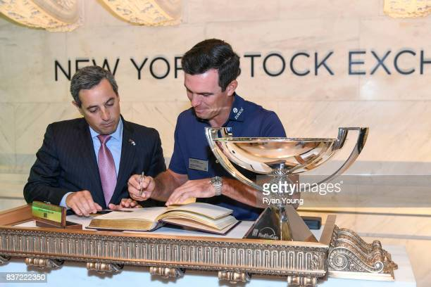 Billy Horschel signs the guest book at the New York Stock Exchange during a preview media tour for THE NORTHERN TRUST on August 22 2017 in New York...