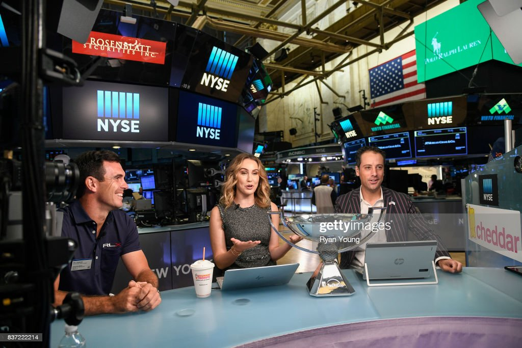 Billy Horschel speaks with Cheddar hosts Kristen Scholer and Jon Steinberg at the New York Stock Exchange during a preview media tour for THE NORTHERN TRUST on August 22, 2017 in New York City, New York.