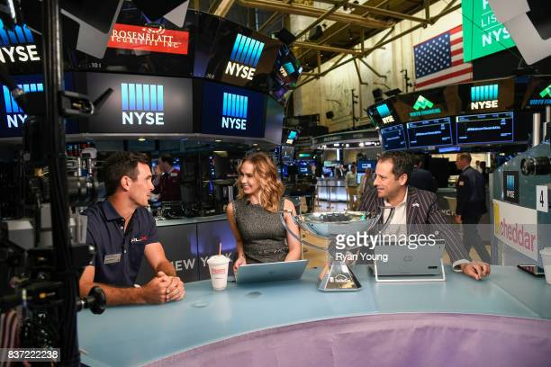 Billy Horschel speaks with Cheddar hosts Kristen Scholer and Jon Steinberg at the New York Stock Exchange during a preview media tour for THE...