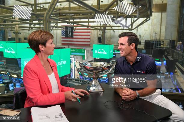 Billy Horschel speaks with CNNMoney host Maggie Lake at the New York Stock Exchange during a preview media tour for THE NORTHERN TRUST on August 22...