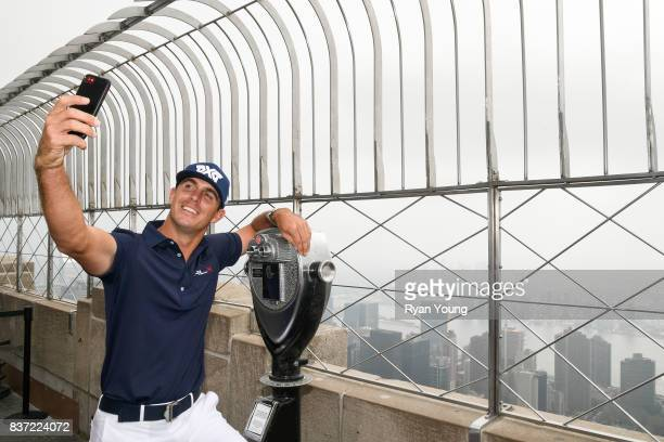 Billy Horschel takes a selfie on top of the Empire State Building during a preview media tour for THE NORTHERN TRUST on August 22 2017 in New York...