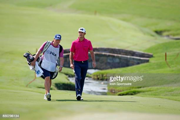 Billy Horschel walks the 18th hole during the second round of the PGA Championship on August 11 2017 at Quail Hollow Club in Charlotte NC