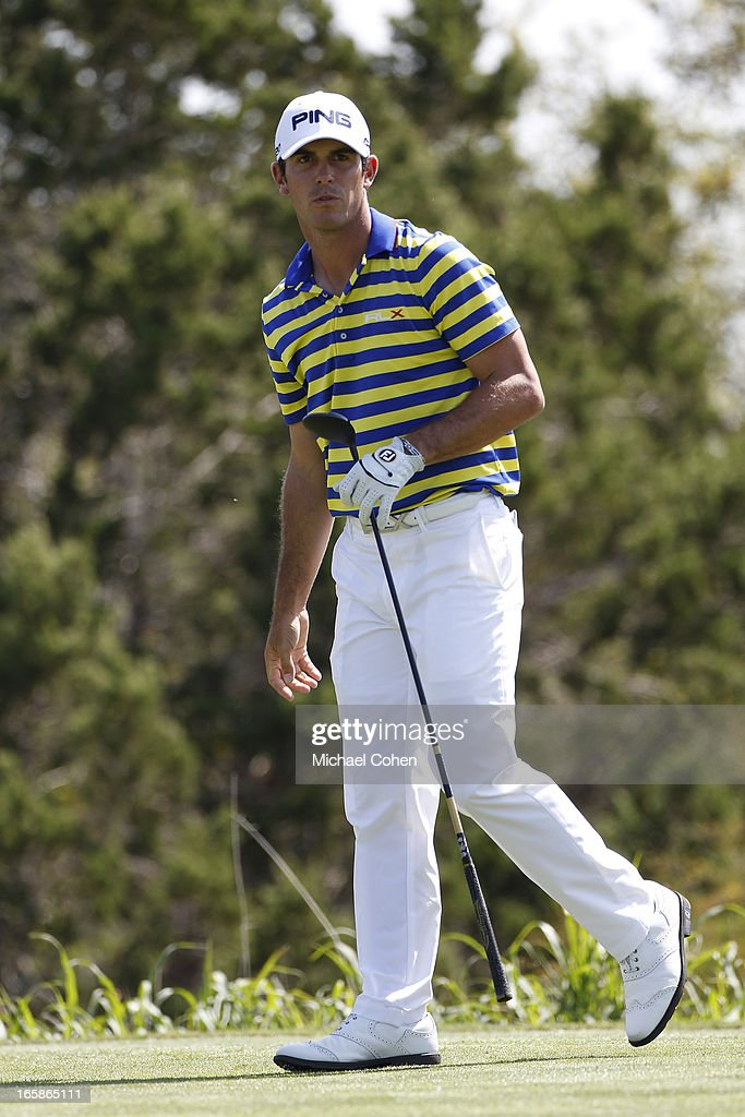 <a gi-track='captionPersonalityLinkClicked' href=/galleries/search?phrase=Billy+Horschel&family=editorial&specificpeople=565390 ng-click='$event.stopPropagation()'>Billy Horschel</a> watches his drive on the 15th hole during the third round of the Valero Texas Open held at the AT&T Oaks Course at TPC San Antonio on April 6, 2013 in San Antonio, Texas.