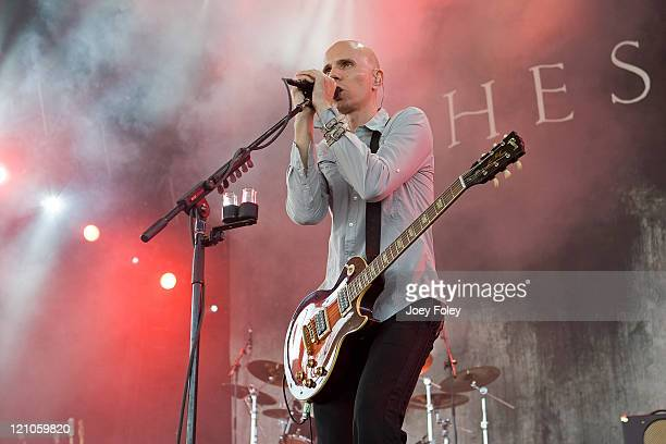 Billy Howerdel of Ashes Divide performs live in concert during the Projekt Revolution Tour at the Verizon Wireless Music Center on August 17 2008 in...